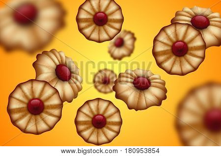 Buttery cookies with red jam orange and yellow background. Defocused cookies elements.