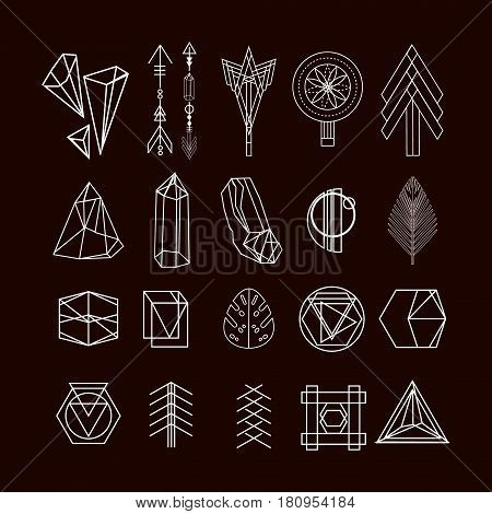 Set of minimal geometric shapes.Trendy hipster linear symbols icons and logotypes. Ethnic aztec patterns. Geometric decor items. Vector illustration.