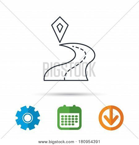 Destination pointer icon. Road location sign. Calendar, cogwheel and download arrow signs. Colored flat web icons. Vector