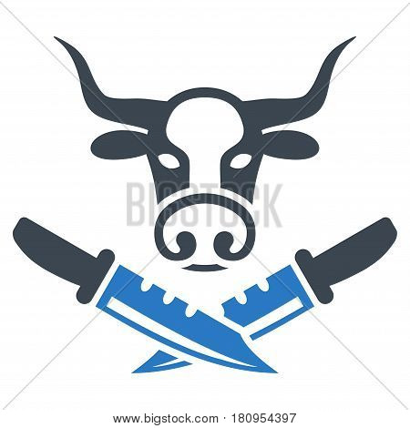 Cow Butchery flat vector icon. An isolated illustration on a white background.
