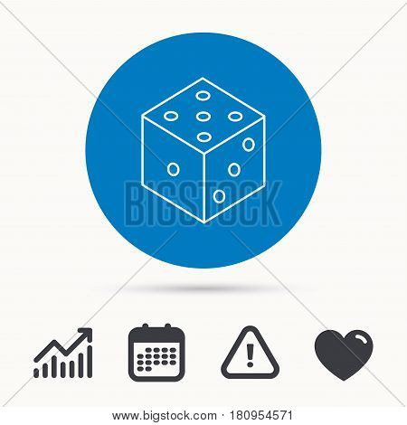 Dice icon. Casino gaming tool sign. Winner bet symbol. Calendar, attention sign and growth chart. Button with web icon. Vector