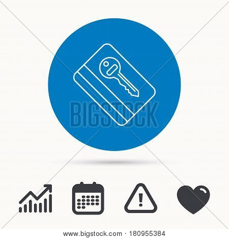 Electronic key icon. Hotel room card sign. Unlock chip symbol. Calendar, attention sign and growth chart. Button with web icon. Vector
