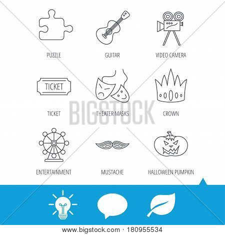 Puzzle, guitar music and theater masks icons. Ticket, video camera and crown linear signs. Entertainment, halloween pumpkin and mustache icons. Light bulb, speech bubble and leaf web icons. Vector