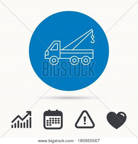 Evacuator icon. Evacuate parking transport sign. Calendar, attention sign and growth chart. Button with web icon. Vector
