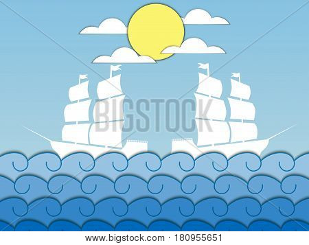 Paper waves. Ships on the waves sailing medieval ship. Seascape. Vector illustration