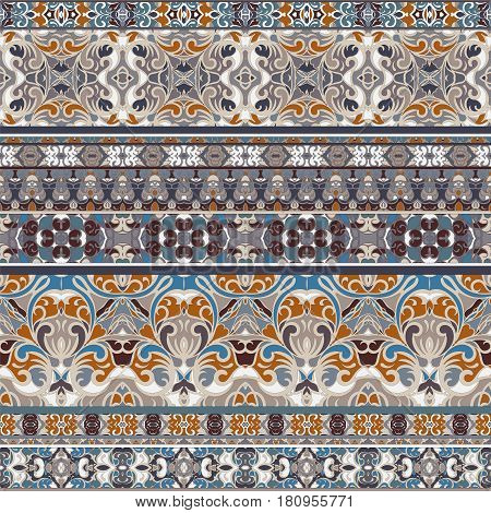 Seamless ethnic patterns for curb. Repeated oriental motif for fabric or paper design.
