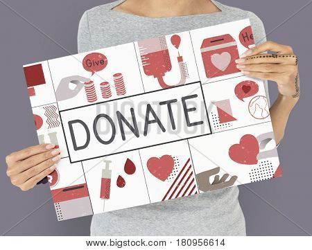 Donate word with charity icons graphic