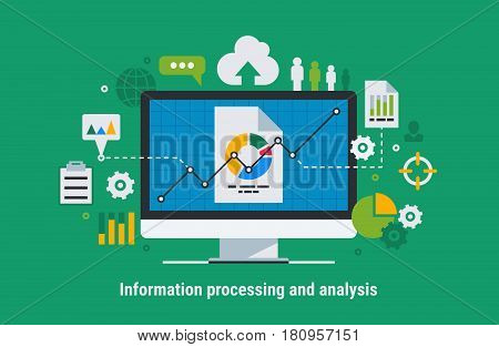 Flat design modern vector illustration concept of website analytics search information.