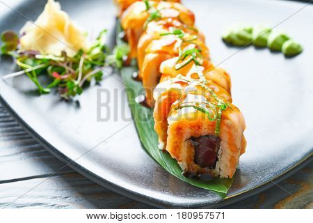 Rice Maki Sushi with nori foie mango and sweet onion