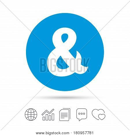 Ampersand sign icon. Programming logical operator AND. Wedding invitation symbol. Copy files, chat speech bubble and chart web icons. Vector
