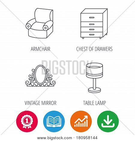 Vintage mirror, table lamp and armchair icons. Chest of drawers linear sign. Award medal, growth chart and opened book web icons. Download arrow. Vector