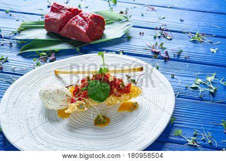 Steak Tartare with mustard ice-cream and airbag starter Tartar recipe