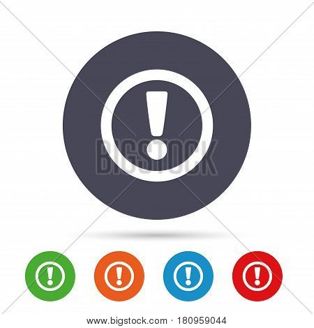 Attention sign icon. Exclamation mark. Hazard warning symbol. Round colourful buttons with flat icons. Vector