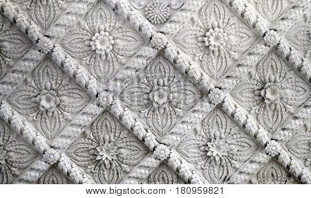 Beautiful ceiling with patterned inserts to photograph closeup