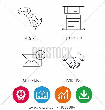 Outbox mail, message and handshake icons. Floppy disk linear sign. Award medal, growth chart and opened book web icons. Download arrow. Vector