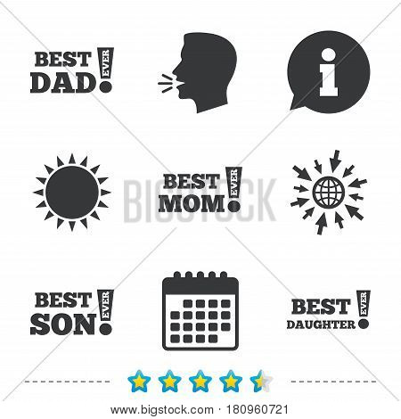 Best mom and dad, son and daughter icons. Awards with exclamation mark symbols. Information, go to web and calendar icons. Sun and loud speak symbol. Vector