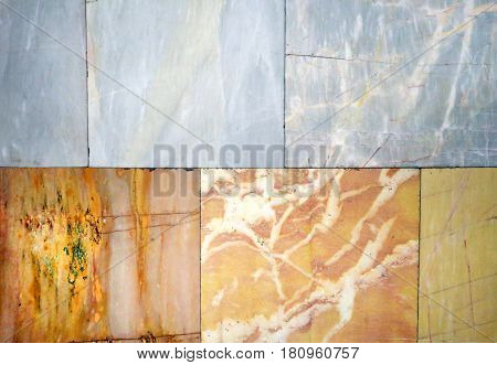 Photo background of the original beautiful colored marble wall with tiles
