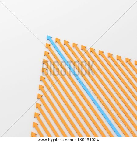Leadership concept blue leader arrow standing out from the crowd of orange arrows on white background. 3D rendering.