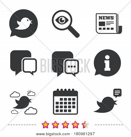 Birds icons. Social media speech bubble. Chat bubble with three dots symbol. Newspaper, information and calendar icons. Investigate magnifier, chat symbol. Vector