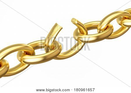 breaking golden chain 3D rendering isolated on white background