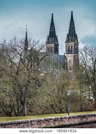 Saints Peter and Paul church in Vysehrad, Prague, Czech Republic.