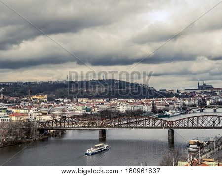 A View from Vysehrad cliff over Vltava river and Prague Castle, Prague, Czech Republic