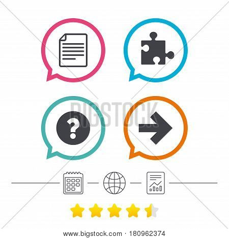 Question mark and puzzle piece icons. Document file and next arrow sign symbols. Calendar, internet globe and report linear icons. Star vote ranking. Vector