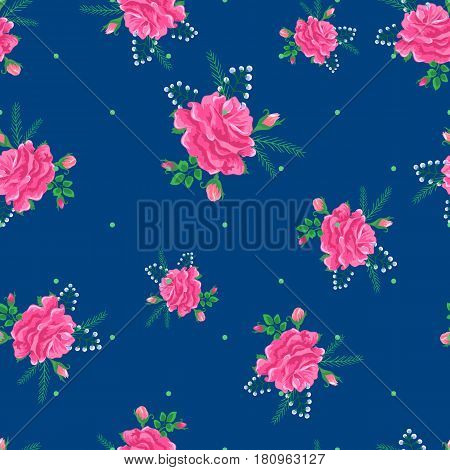Seamless pattern with pink beautiful roses and leaves on a blue background.Summer Vector illustration in the style of shabby chic.Print for book covers, textile, fabric, wrapping paper, scrapbooking.