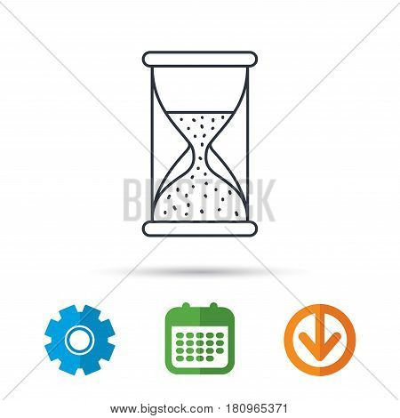 Hourglass icon. Sand time sign. Half an hour symbol. Calendar, cogwheel and download arrow signs. Colored flat web icons. Vector