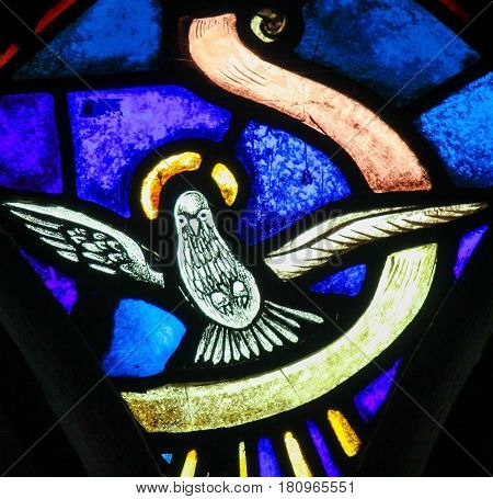Stained Glass - Holy Spirit, Symbolized By A White Dove