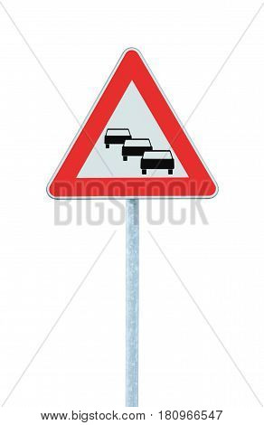Traffic jam queues likely road sign expect delays ahead warning isolated traffic congestion symbol red triangle large detailed vertical closeup