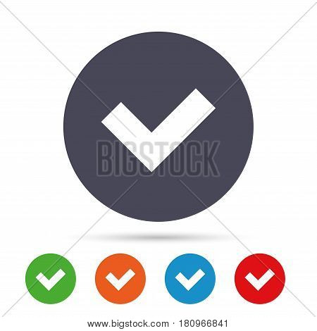 Check sign icon. Yes button. Round colourful buttons with flat icons. Vector