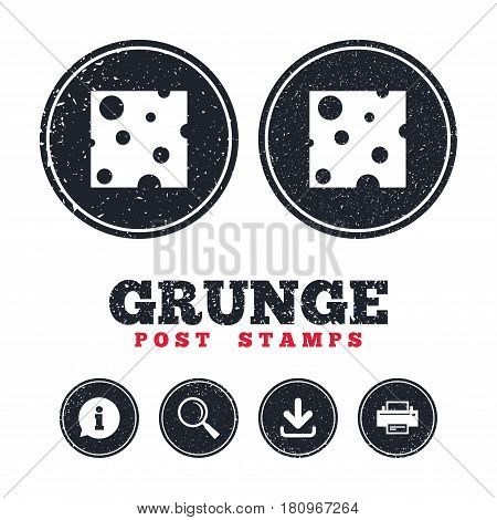 Grunge post stamps. Cheese sign icon. Slice of cheese symbol. Square cheese with holes. Information, download and printer signs. Aged texture web buttons. Vector