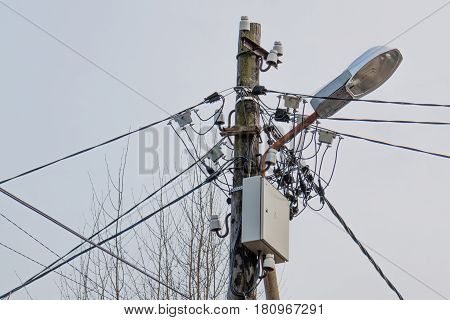 Lamp post with electrical and internet wireles