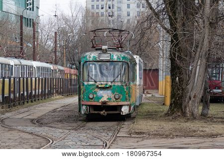 old green tram in the tram Park-depot