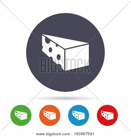 Cheese sign icon. Slice of cheese symbol. Triangle cheese with holes. Round colourful buttons with flat icons. Vector