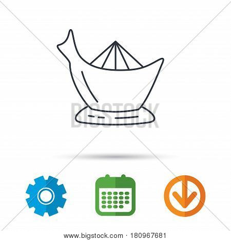 Juicer icon. Squeezer sign. Kitchen electric tool symbol. Calendar, cogwheel and download arrow signs. Colored flat web icons. Vector