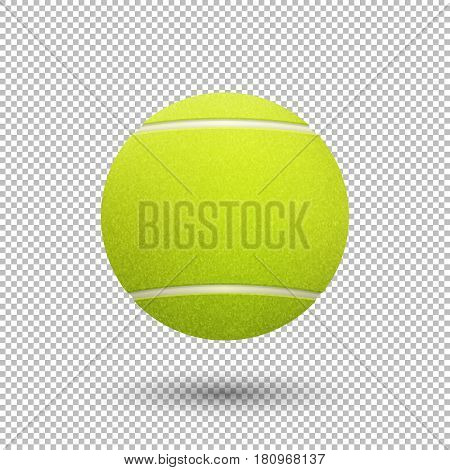 Vector realistic flying tennis ball closeup isolated on transparent background. Design template, EPS10 illustration.