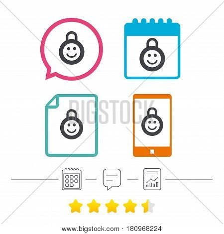 Child lock icon. Locker with smile symbol. Child protection. Calendar, chat speech bubble and report linear icons. Star vote ranking. Vector