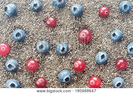 Chia seeds with fresh berries: top view