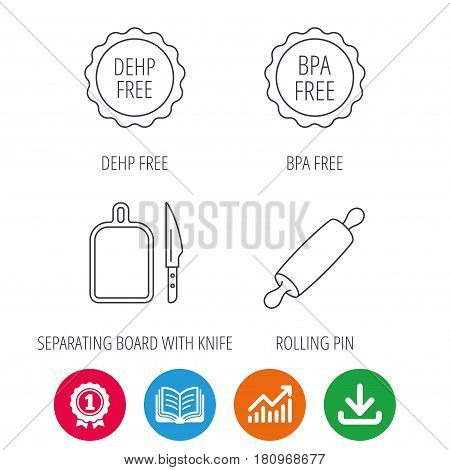 Rolling pin, separating board and knife icons. BPA, DEHP free linear signs. Award medal, growth chart and opened book web icons. Download arrow. Vector