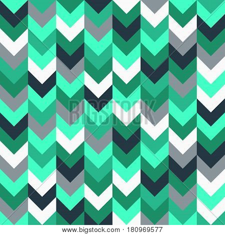 Chevron pattern seamless vector arrows geometric design in mixed order colorful turquoise teal green white grey