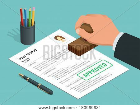 Approved stamp in hand businessman and Approved document with stamp, pen. Isometric Vector illustration
