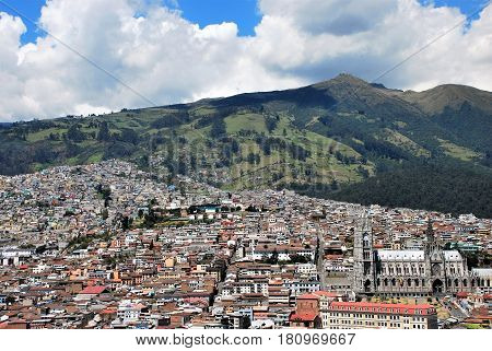 View of Quito from Itchimbia Park in Ecuador