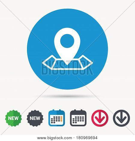 Location icon. Map pointer symbol. Calendar, download arrow and new tag signs. Colored flat web icons. Vector