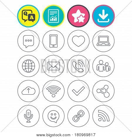 Report, download and star signs. Communication icons. Smartphone, laptop and speech bubble symbols. Wi-fi and Rss. Online love dating, mail and globe thin outline signs. Vector