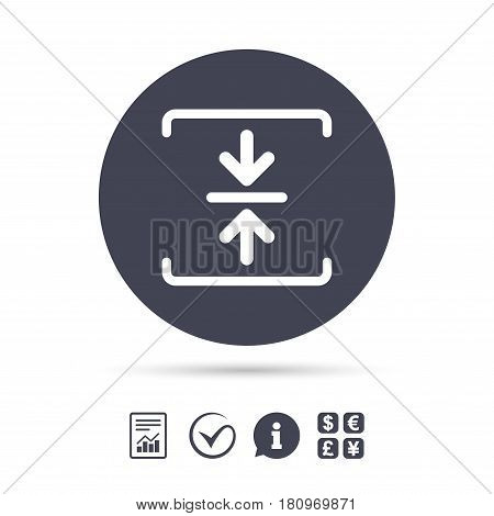 Archive file sign icon. Compressed zipped file symbol. Arrows. Report document, information and check tick icons. Currency exchange. Vector
