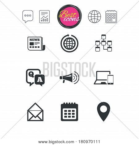 Chat speech bubble, report and calendar signs. Communication icons. News, chat messages and calendar signs. E-mail, question and answer symbols. Classic simple flat web icons. Vector