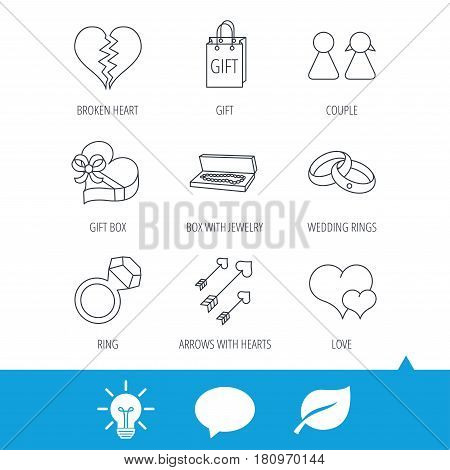 Love heart, gift box and wedding rings icons. Broken heart and couple linear signs. Valentine amour arrows flat line icons. Light bulb, speech bubble and leaf web icons. Vector