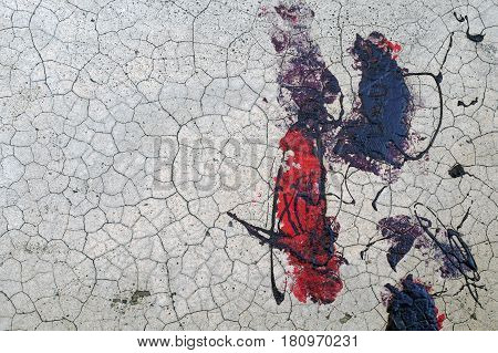 Cracked Wall With Black And Red Paint  Abstract Texture Background